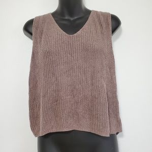 GORGEOUS TAUPE KNIT SMALL CROP TANK TOP LACE UP